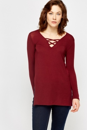 Plum Cross Front Dip Hem Top