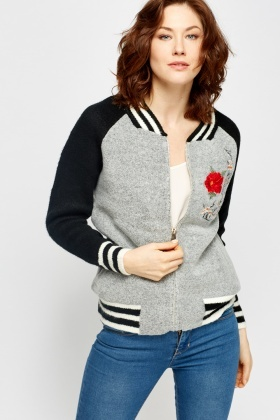 Zipped Embroided Fleece Jacket