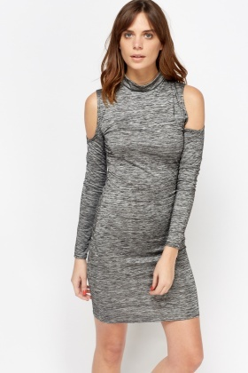 Speckled High Neck Cold Shoulder Dress