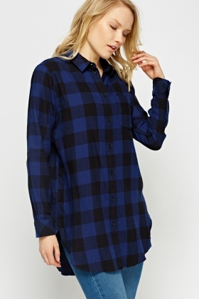 Checked Dark Blue Shirt