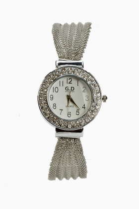Encrusted Chained Watch