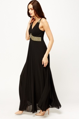 Embellished Ruched Maxi Dress