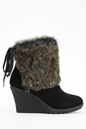 Faux Fur Wedge Boots