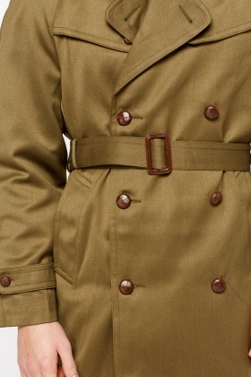 Khaki Mens Leading Oversized Trench Coat