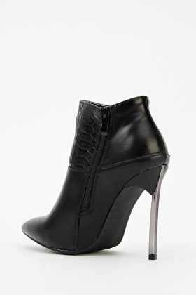 Mock Croc Court Heeled Boots