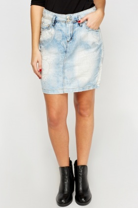 Denim Girl Faint Print Skirt