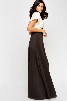 lace up in finest fabrics discount price Drape Bodice Swing Maxi Dress