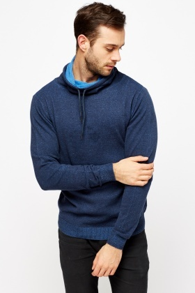 Cowl Neck Knitted Mens Jumper