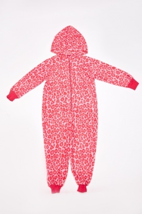 Leopard Print Hooded Fleece Onesie