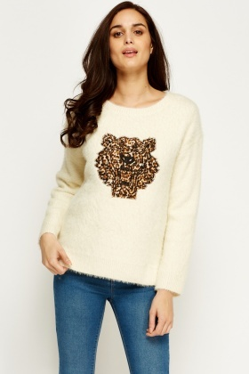 Patch Tiger Dip Hem Jumper