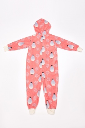 Penguin Print Hooded Onesie