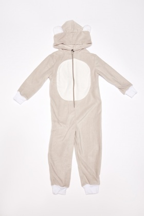 Boys Bear Fleece Hooded Onesie