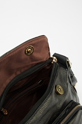 Front Zip Pocket Faux Leather Bag