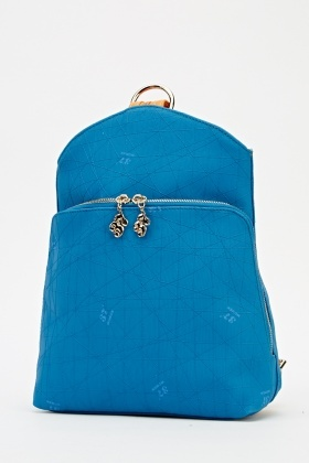 Middle Blue Zipped Backpack