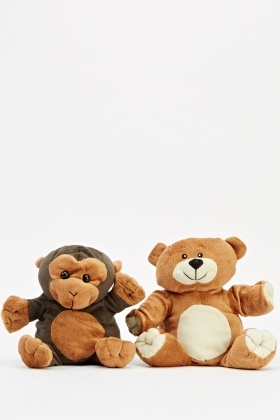 pack of 2 bear and monkey puppets just 5