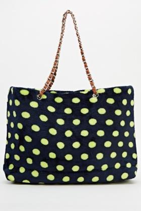 Polka Dot Faux Fur Tote Bag