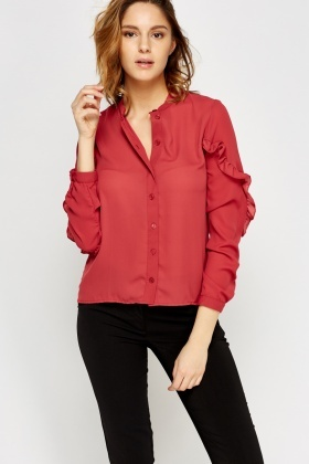 Flared Sleeve Button Up Blouse