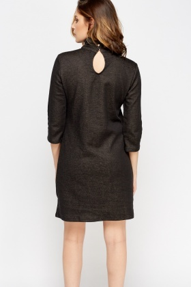 high neck colour panel knitted dress