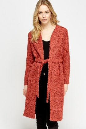 Bobble Knit Long Cardigan