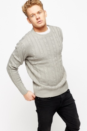 Cable Knit Ribbed Mens Jumper