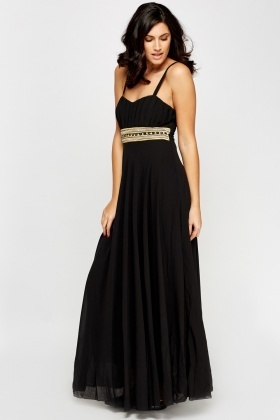 Embellished Waist Wrap Front Maxi Dress
