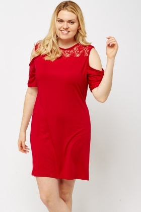 Red Lace Insert Cold Shoulder Dress