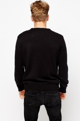 Ribbed Neck Long Sleeve Jumper