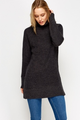 Roll Neck Thick Knitted Jumper