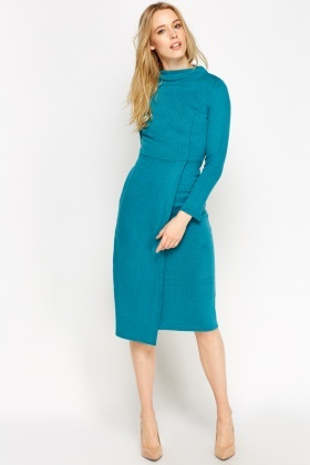 Wrap Hem Midi Dress