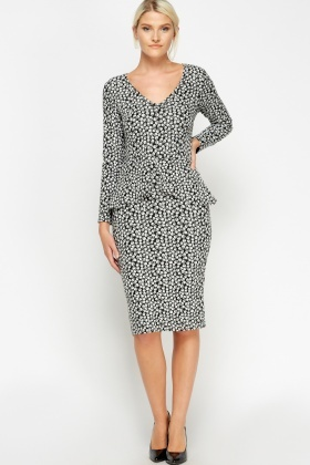 Black Printed Long Sleeve Peplum Dress
