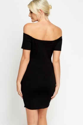 Button Detail Off Shoulder Dress