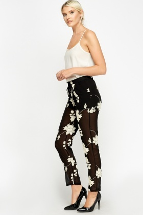 Embroidered Flower Mesh Trousers