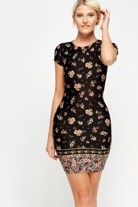 Flower Print Bodycon Dress
