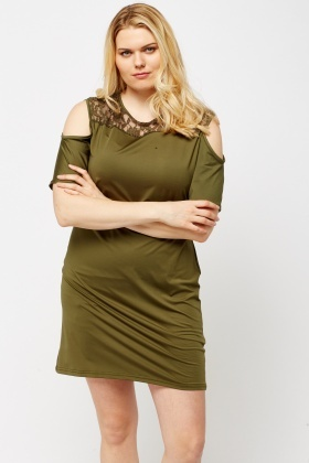 Green Lace Insert Cold Shoulder Dress