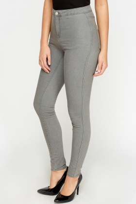 high waisted grey skinny jeans - Jean Yu Beauty