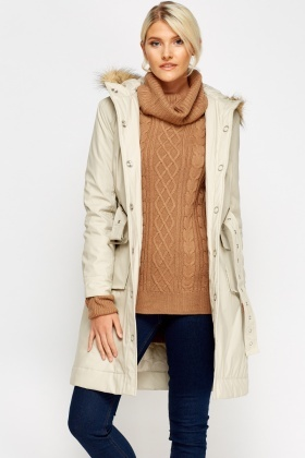 Light Stone Buckled Coat