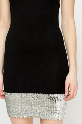 Sequin Hem Black Dress