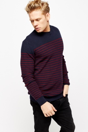 Striped Knitted Mens Jumper