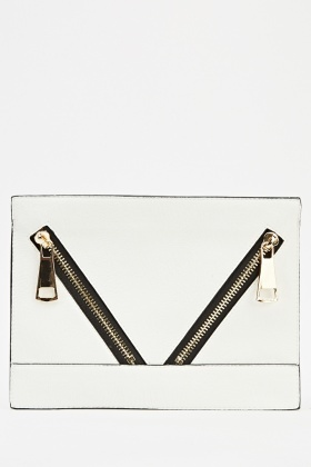 Zipped Pockets Front Clutch Bag