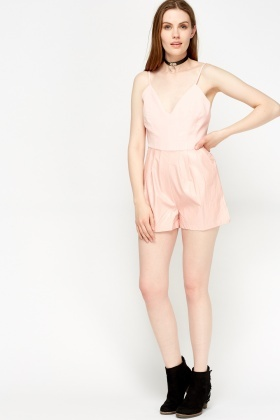 Contrast Pink Bodice Playsuit