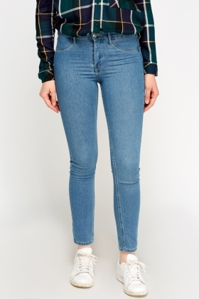 Washed Blue Skinny Fit Denim Jeans