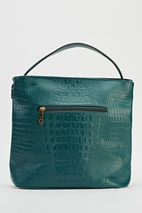 Dark Green Textured Handbag