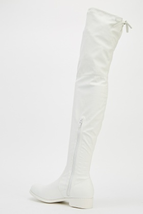 Faux Leather Over Knee High White Boots