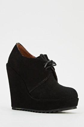 Platformed Black Lace Up Wedge