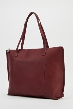 Faux Leather Burgundy Tote Bag