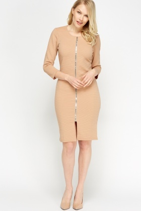 Ribbed Zip Front Dress