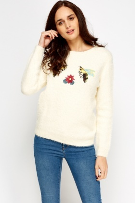 Embroidered Bumble Bee Eyelash Jumper