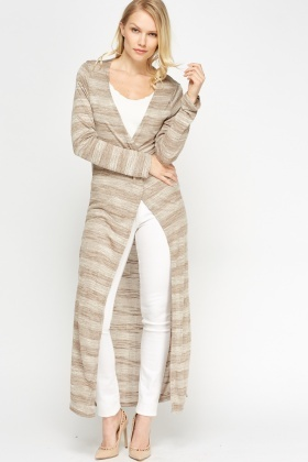 Speckled Striped Long Line Thin Cardigan - Just £5