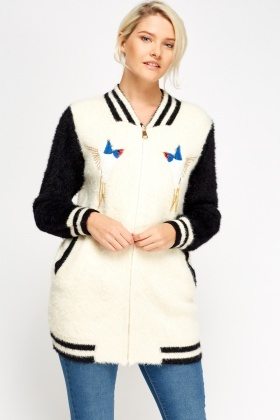 Eyelash Knit Embroidered Bird Cardigan