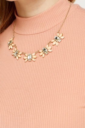 Encrusted Flower Necklace